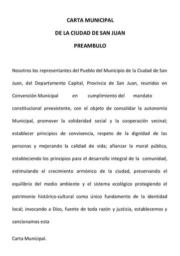 Carta Orgánica Municipio de la Ciudad de San Juan